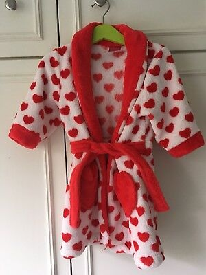 Girls 12-18 Months White And red Hearts Dressing Gown