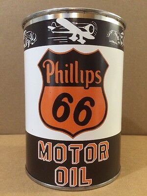 Phillips 66 Motor Oil Can Rare Empty Quart Gas sign Reproduction Vintage Style