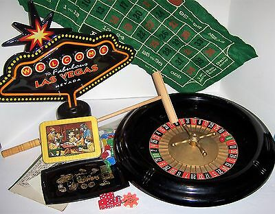 Casino Night Man Cave Roulette Wheel, Craps, Cards and Neon FX Sign set