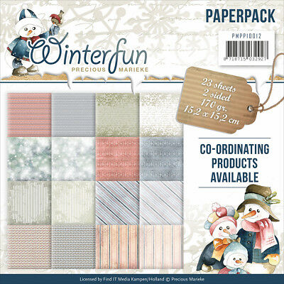 "Find It Trading Precious Marieke Paper Pack 6""X6"" 23/Pkg Winterfun, Double Sided"