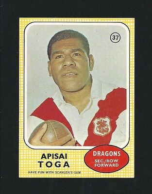 RARE Investment Quality 1970 Scanlens Rugby Apisai Toga St George #37 Stunning