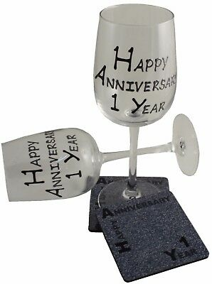 1st Wedding Anniversary Wine Glass and Coaster Gift Set Blk/Sil