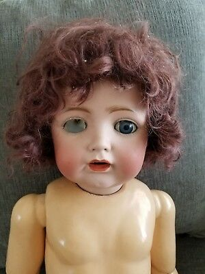 Antique Blue Eyed Bisque Doll Head For Parts Composition Body