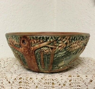 "Weller Pottery Forest 9.25 "" Hanging Planter Excellent"