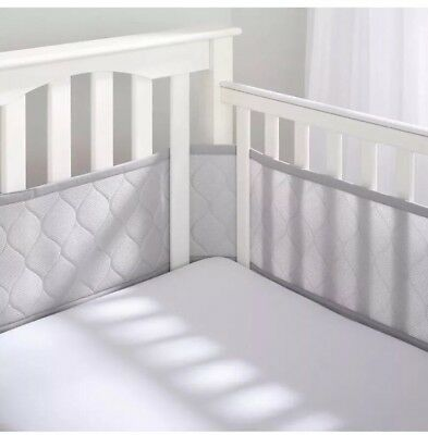BreathableBaby Deluxe Embossed Breathable Mesh Crib Liner - Gray Bumper
