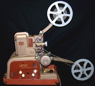 AMPRO GRAFLEX SUPER STYLIST 16mm MOVIE FILM PROJECTOR FOR SOUND OR SILENT FILM
