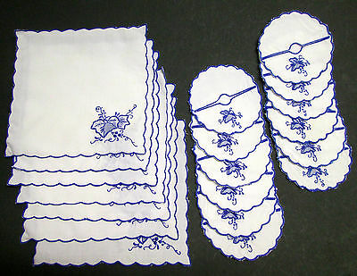 Vintage Blue Embroidered Wine Glass Cozies (12) + Matching Small Napkins (7)