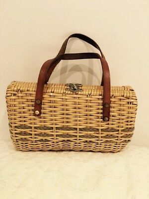 Vintage Straw Bag With Leather Straps Marcus Original