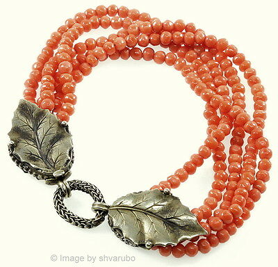 Antique Victorian Italian Undyed Salmon Coral Sterling Clasp Bracelet
