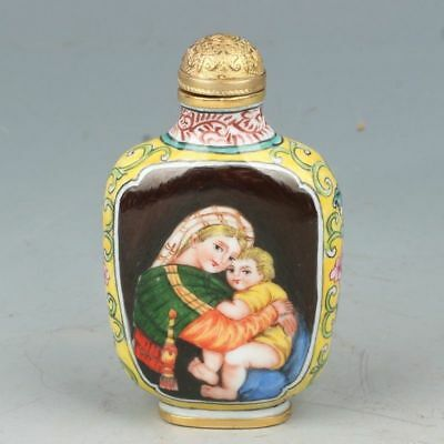 Chinese Exquisite Hand Painted Western figures pattern Cloisonne snuff bottle