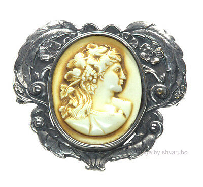 Antique Victorian Hand Carved Celluloid Cameo Embossed Siver Plated Brass Pin