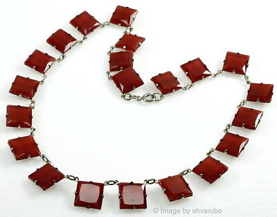Vtg Art Deco Czech Faceted Carnelian Glass Riviera Necklace