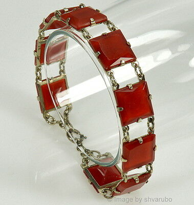 Vtg Art Deco Czech Faceted Carnelian Glass Link Bracelet