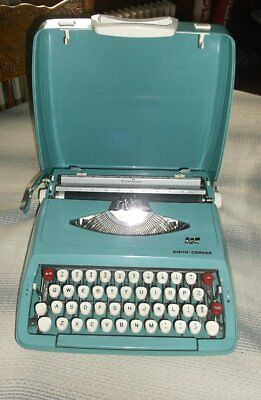 vintage Smith Corona Corsair typewriter torquoise portable manual made England