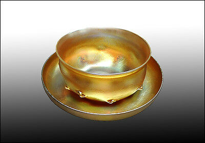 Louis Comfort TIFFANY Favrile Glass Antique Plate Bowl Place Setting Signed Rare