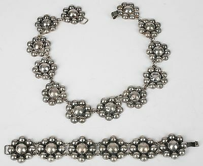 Old flower sterling necklace & link bracelet set Mexico, Mexican silver, 1950's