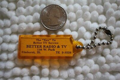 Better Radio & TV Elmhurst Illinois Key Tag VTG Keychain Key Ring #26576