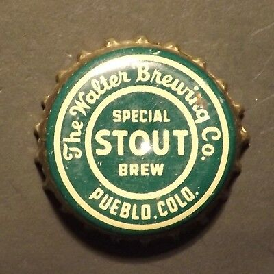 Old Cork Backed Beer Bottle Crown - Walter's #3 Stout, Pueblo, CO - No Reserve!