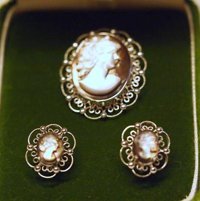 Pin & Screwback Earrings Mother of Pearl Cameo Set in Sterling Silver Filigree