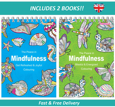 2 X ADULT COLOURING BOOK SET Spiral Mindfulness Relaxing Anti-Stress 90 Patterns
