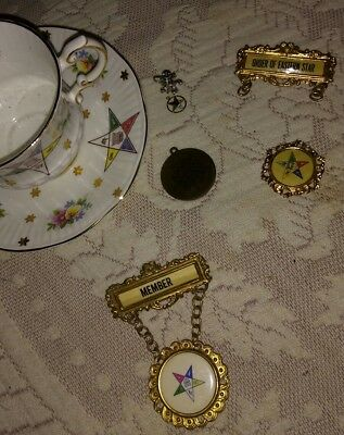 Vintage Order Of The Eastern Star Lot...bone China.. Jewelry..token And Medals