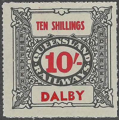 QUEENSLAND 1927-66 RAILWAYS 10/- Grey inscribed DALBY station Never hinged mint