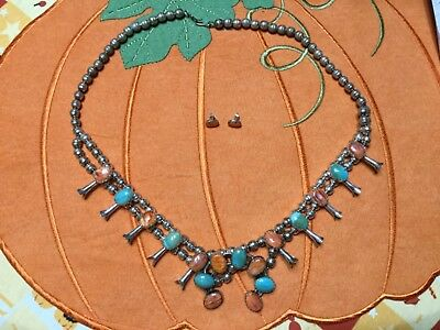 Native American Sterling and Turquoise Squash Blossom Necklace & Earring Set