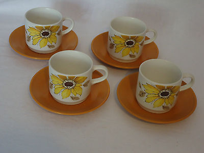 Retro Johnson of Australia Stoneware Cup & Saucer Duos x 4 *Yellow Sunflowers