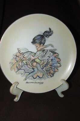 Vintage Brownie Downing Can Can Dancer Black Hair Girl PLATE Signed 16CmW