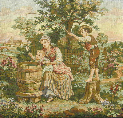 "Vintage French Tapestry, Family & Baby, Landscape, Castle, ""Made in France"""