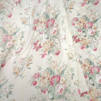 Pair of VintageFrenchBlock Printed Linen Curtains, Spring Flowers