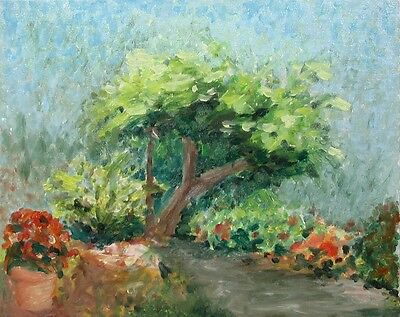 Vintage French Oil Painting on Canvas, Impressionist Garden, Tree & Red Flowers