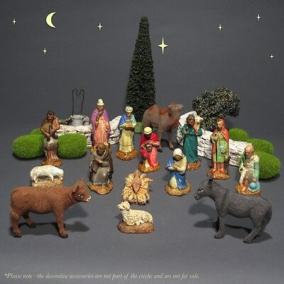 Old French Santons Christmas Nativity Figurines Crèche, Holy Family, 15 pcs