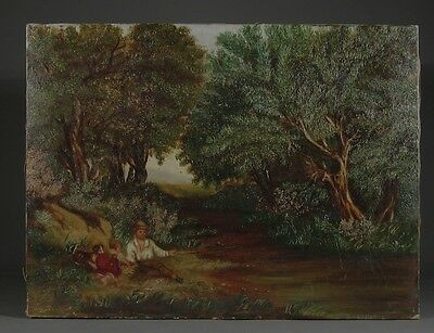 "Antique American Oil Painting, Late 19th century, ""Boy Fishing with Baby & Dog"""