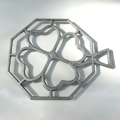Vintage French Cast Aluminum Trivet, Four Leaf Clover
