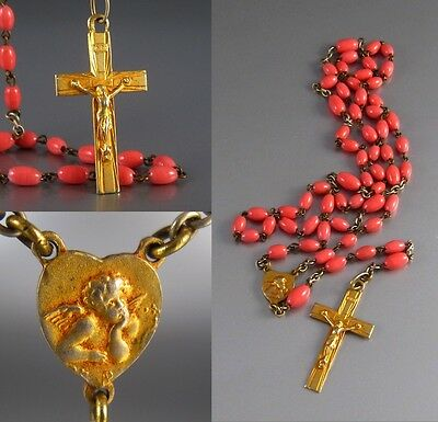 Vintage FrenchAngel Rosary, Gilded Metal  Crucifix and Medal, Coral Glass Beads
