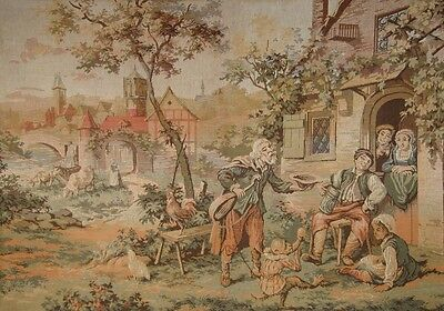 Vintage French Tapestry, Saltimbanque and Monkey at a Flemish Farm