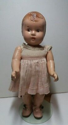 "Vintage All Composition 7 1/2""  Baby Doll 7"" with stand"