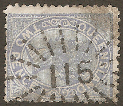 RARE QUEENSLAND NUMERAL POSTMARK: 115 of Breakfast Creek on 2d QV