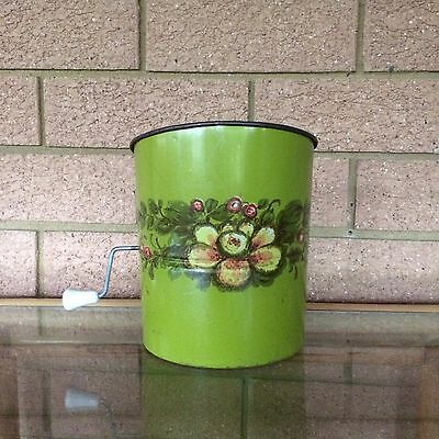Vintage WILLOW kitchen Flour Sifter GREEN with YELLOW flower metal retro sieve