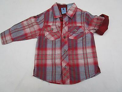 Boys Pumpkin Patch  check long sleeve shirt   with roll up sleeves Size 5