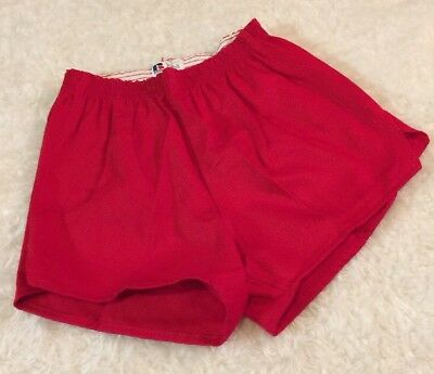 Dead Stock Vintage Russell Cotton Gym Shorts Size Medium Mens 1970's Red