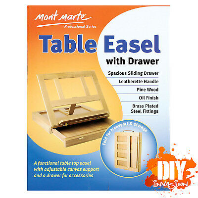 Mont Marte Table Easel With Drawer Pine Wood Foldable For Easy Storage w/ Handle