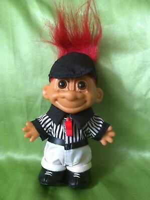TROLL RUSS DOLL REFEREE wtih WHISTLE SPORTS foot sticker VINTAGE TOY COLLECTABLE