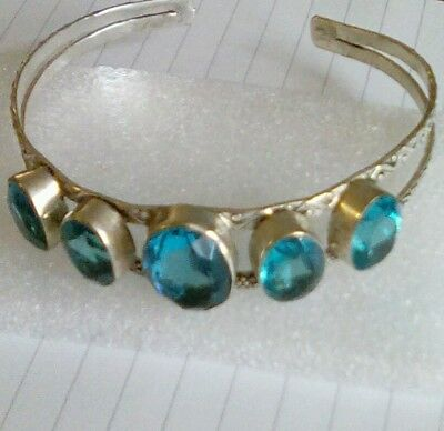Chunky sterling silver? turquoise cuff bangle - 26g