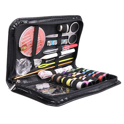 Portable Beginner Sewing Kit Case Set Supplies Box with 18 Colored Threads