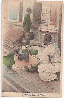 1900s SIAM Presenting food to priest tinted Postcard Ebata Bangkok Thailand