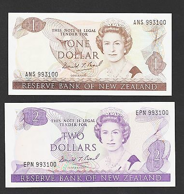 New Zealand Banknotes Pick 169c-170c One and Two Dollar, Same serials, UNC