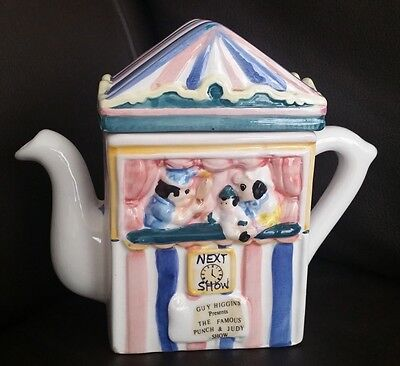 Regency Fine Arts Punch & Judy Collector's English China Teapot By Guy Higgins