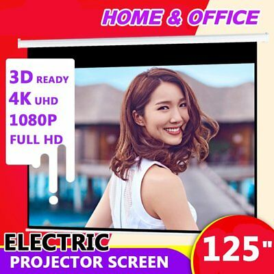 """125"""" Inch Electric Motorised Projector Screen Home Theatre HD TV Projection 3D O"""